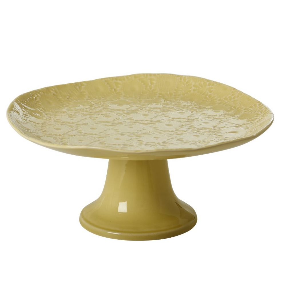 Embossed Stoneware Cake Stand in Pastel Lime Green