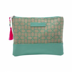 Jade green geometric make up pouch